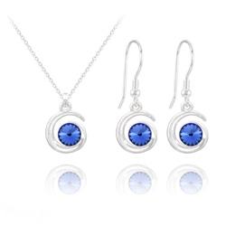 Parure Spirale Rivoli en Argent et Cristal Bleu Saphir