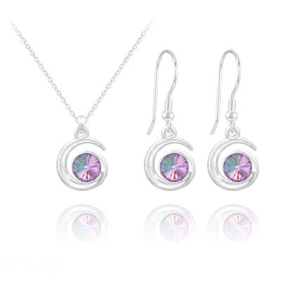 Parure en Cristal et Argent Parure Spirale Rivoli en Argent et Cristal Vitrail Light