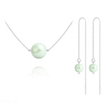 Wholesale Nacreous Swarovski Crystal Pearl 10mm/6mm Silver Jewelry Set - Pastel Green