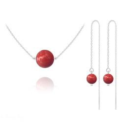 Parure Collier 10mm + Chaînes d'Oreilles 6mm en Argent et Cristal Nacré Red Coral