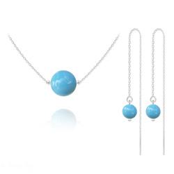 Parure Collier 10mm + Chaînes d'Oreilles 6mm en Argent et Cristal Nacré Turquoise