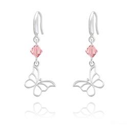Boucles d'Oreilles Papillon en Argent et Cristal Rose