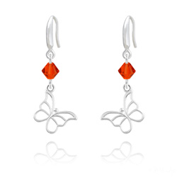 Boucles d'Oreilles Papillon en Argent et Cristal Rouge Light Siam