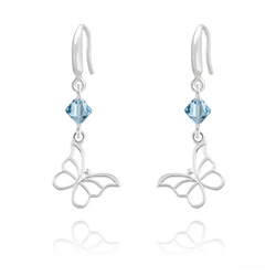 Boucles d'Oreilles Papillon en Argent et Cristal Bleu