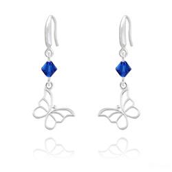 Boucles d'Oreilles Papillon en Argent et Cristal Capri Blue