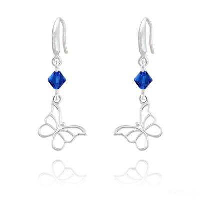 Boucles d'Oreilles en Cristal et Argent Boucles d'Oreilles Papillon en Argent et Cristal Capri Blue