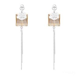 Boucles d'Oreilles Stairway 14mm en Argent et Cristal Champagne