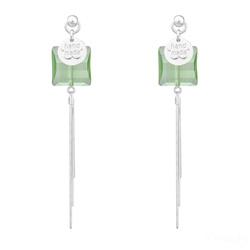 Boucles d'Oreilles Stairway 14mm en Argent et Cristal Vert Péridot