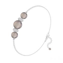 Bracelet 3 Perles Rondes 6mm/8mm en Argent et Pierres Naturelles - Agate Grise