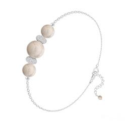 Bracelet 3 Perles Rondes 6mm/8mm en Argent et Pierres Naturelles - Pierre de Rivière
