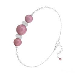 Bracelet en Pierre Naturelle Bracelet 3 Perles Rondes 6mm/8mm en Argent et Pierres Naturelles - Rhodonite