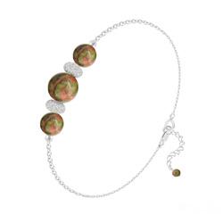 Bracelet 3 Perles Rondes 6mm/8mm en Argent et Pierres Naturelles - Unakite