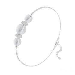 Bracelet 3 Perles Rondes 6mm/8mm en Argent et Pierres Naturelles - Cristal de Roche