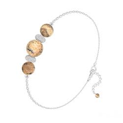 Bracelet 3 Perles Rondes 6mm/8mm en Argent et Pierres Naturelles - Jaspe Paysage