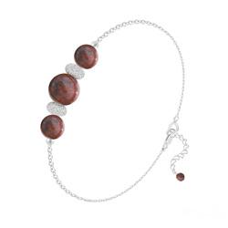 Bracelet 3 Perles Rondes 6mm/8mm en Argent et Pierres Naturelles - Jaspe Rouge