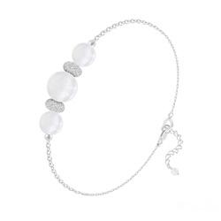 Bracelet 3 Perles Rondes 6mm/8mm en Argent et Pierres Naturelles - Jade Blanc