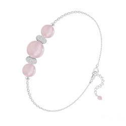 Bracelet 3 Perles Rondes 6mm/8mm en Argent et Pierres Naturelles - Quartz Rose