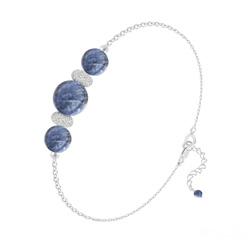 Bracelet 3 Perles Rondes 6mm/8mm en Argent et Pierres Naturelles - Sodalite