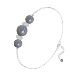 Bracelet 3 Perles Rondes 6mm/8mm en Argent et Pierres Naturelles - Labradorite
