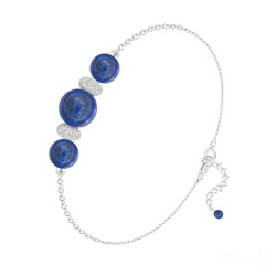 Bracelet 3 Perles Rondes 6mm/8mm en Argent et Pierres Naturelles - Lapis Lazuli