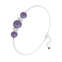 Bracelet 3 Perles Rondes 6mm/8mm en Argent et Pierres Naturelles - Améthyste