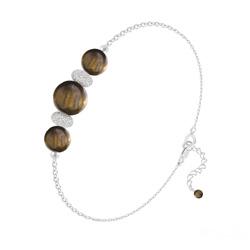 Bracelet 3 Perles Rondes 6mm/8mm en Argent et Pierres Naturelles - Oeil de Tigre