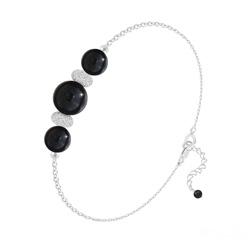 Bracelet 3 Perles Rondes 6mm/8mm en Argent et Pierres Naturelles - Onyx