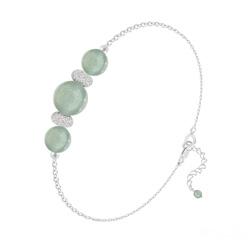 Bracelet 3 Perles Rondes 6mm/8mm en Argent et Pierres Naturelles - Aventurine