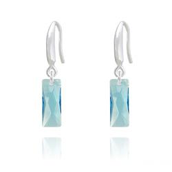 Boucles d'Oreilles Mini Queen Baguette en Argent et Cristal Bleu