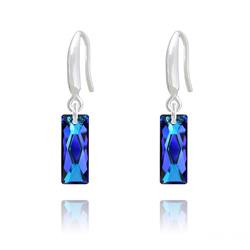 Boucles d'Oreilles Mini Queen Baguette en Argent et Cristal Bleu Bermude