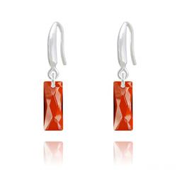 Boucles d'Oreilles Mini Queen Baguette en Argent et Cristal Red Magma