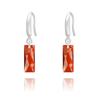 Boucles d'Oreilles en Cristal et Argent Boucles d'Oreilles Mini Queen Baguette en Argent et Cristal Red Magma