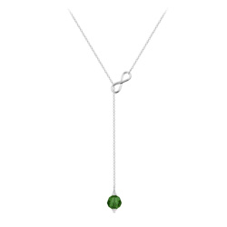 Collier Cravate Infini en Argent et Cristal 8mm Fern Green