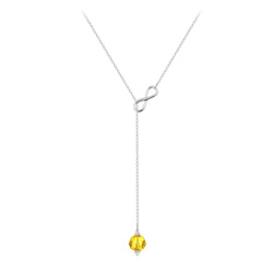Collier Cravate Infini en Argent et Cristal 8mm Sun Flower
