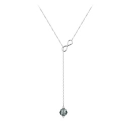 Collier Cravate Infini en Argent et Cristal 8mm Black Diamond