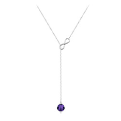 Collier Cravate Infini en Argent et Cristal 8mm Purple Velvet