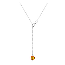 Collier Cravate Infini en Argent et Cristal 8mm Fire Opal