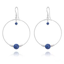 Créoles en Argent et Pierres Naturelles 8MM/4MM - Lapis Lazuli