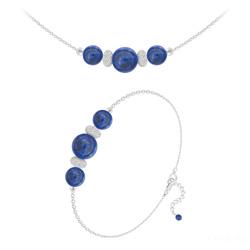 Parure en Argent et Pierres Naturelles 8mm / 6mm - Lapis Lazuli