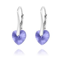 Boucles d'Oreilles Coeur 10MM en Argent et Cristal Tanzanite