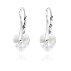 Boucles d'Oreilles Coeur 10MM en Argent et Cristal Blanc