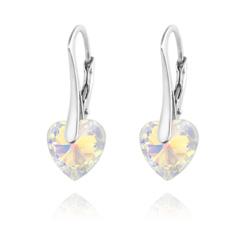 Boucles d'Oreilles Coeur 10MM en Argent et Cristal Aurore Boréale