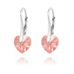 Boucles d'Oreilles Coeur 10MM en Argent et Cristal Light Rose AB