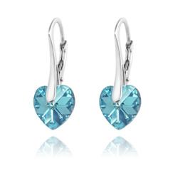 Boucles d'Oreilles Coeur 10MM en Argent et Cristal Aquamarine AB