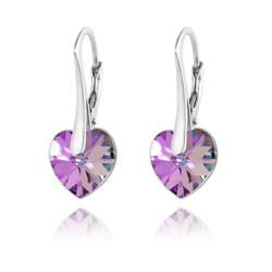 Boucles d'Oreilles Coeur 10MM en Argent et Cristal Vitrail Light