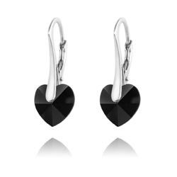 Boucles d'Oreilles Coeur 10MM en Argent et Cristal Jet (Noir)