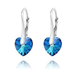 Boucles d'Oreilles Coeur 10MM en Argent et Cristal Bleu Bermude