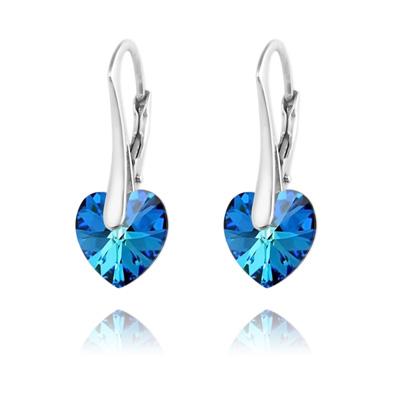 Boucles d'Oreilles en Cristal et Argent Boucles d'Oreilles Coeur 10MM en Argent et Cristal Bleu Bermude