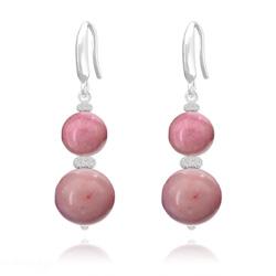 Boucles d'Oreilles Perles Rondes 8mm/10mm en Argent et Pierres Naturelles - Rhodonite