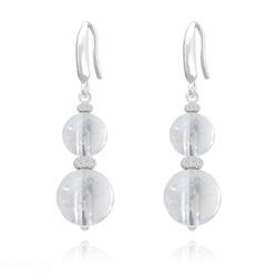 Boucles d'Oreilles Perles Rondes 8mm/10mm en Argent et Pierres Naturelles - Cristal de Roche